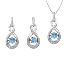 Love in Motion™ Genuine Blue Topaz and Lab-Created White Sapphire Earring and Necklace Set