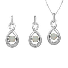 Love in Motion™ Lab-Created Opal &White Sapphire Sterling Silver Infinity 2-pc. Boxed Jewelry Set