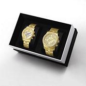 JBW Vanquish&Vixen 1/8 Ct. T.W. Diamond Accent Unisex Gold Tone 2-pc. Watch Boxed Set-J6337bj6327d