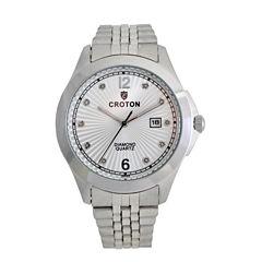 Croton Mens Silver Tone Bracelet Watch-Cn307562sssd