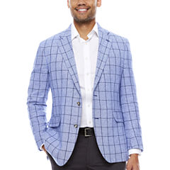 Stafford Linen Cotton Blue Windowpane Sport Coat- Classic Fit