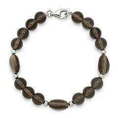 Smoky Quartz Sterling Silver Bead Bracelet