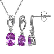 Lab-Created Pink Sapphire Sterling Silver Earring and Necklace Set