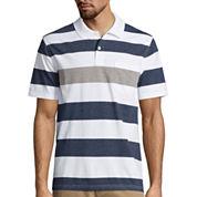 St. John's Bay® Short-Sleeve Striped Jersey Pocket Polo Shirt