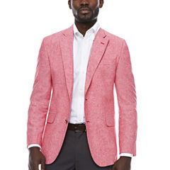 Stafford Linen Cotton Red Sport Coat-Slim