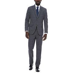 JF J. Ferrar Grey Blue Plaid Suit Separates-Classic