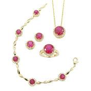 Lab-Created Ruby & Cubic Zirconia 4-pc. Jewelry Set