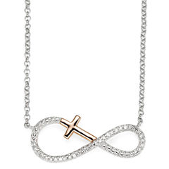 Infinite Promise 1/10 CT. T.W. Diamond Stering Silver Pendant with 14K Rose Gold Accent