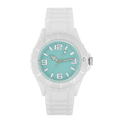 Womens Accutime White/Teal Strap Watch