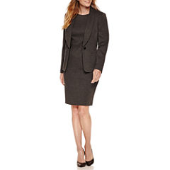 Black Label by Evan-Picone Long Sleeve 1-Button Jacket with Sleeveless Sheath Dress