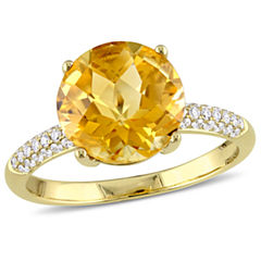 Yellow Citrine 14K Gold Engagement Ring
