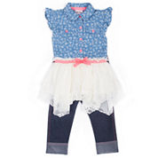 Little Lass Girls 2-Pc Denim To Lace Sharkbite Legging Set