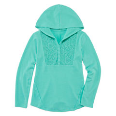 Arizona Long Sleeve Soft Crochet Yoke Hoodie - Girls' Plus
