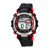 Armitron® Mens Black Resin Strap Chronograph Watch 40/8312RED