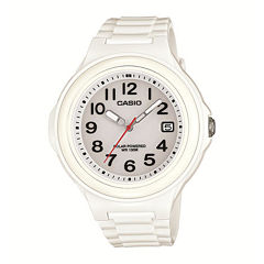 Casio® Womens White Bezel White Resin Strap Solar Watch LXS700H-7BV