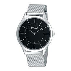 Pulsar® Mens Stainless Steel Mesh Watch PTA499X