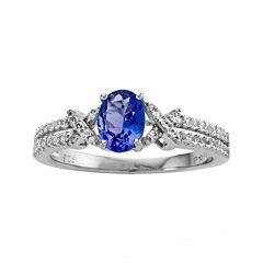 Genuine Tanzanite & Lab-Created White Sapphire Ring