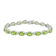 Genuine Peridot & Diamond Accent Tennis Bracelet