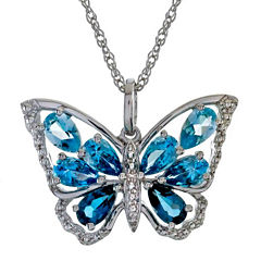 Lab-Created Blue Topaz Butterfly Pendant Necklace