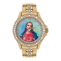 Elgin® Mens Crystal Accent Gold-Tone Bracelet Watch