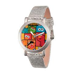 Sesame Street Womens Silver Tone Strap Watch-Wss000004