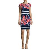 Alyx Short Sleeve Floral Stripe Sheath Dress