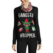 Self Esteem Long Sleeve Round Neck Pullover Sweater-Juniors