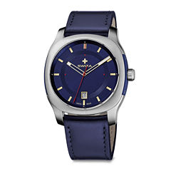 Swiza® Nowus Mens Blue Leather Strap Watch