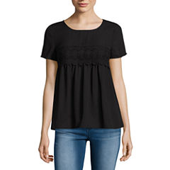 Decree Short Sleeve Round Neck Blouse-Juniors
