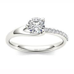 Womens 1 CT. T.W. Round White Diamond 14K Gold Engagement Ring
