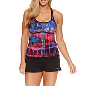 Nike ® Tie Dye Tankini or Solid Swim Shorts
