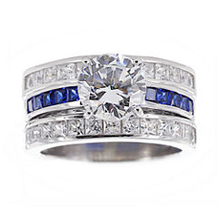 DiamonArt® Cubic Zirconia & Lab-Created Blue Sapphire Bridal Ring and Guard