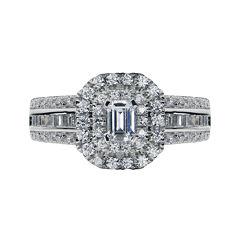 Modern Bride® Signature 1⅜ CT. T.W. Diamond 14K White Gold Emerald-Cut Bridal Ring