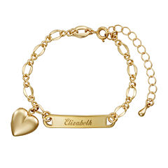 Personalized 14K Yellow Gold Over Brass Girls Engraved ID with Heart Charm Bracelet