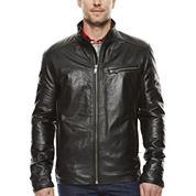 Straight-Bottom Lambskin Leather Jacket