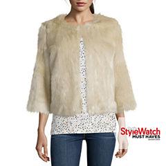 Stylus™ 3/4-Sleeve Faux-Fur Jacket