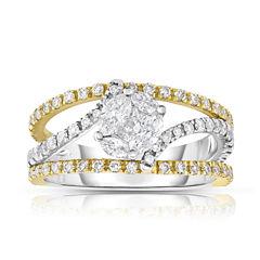 Womens 1 1/4 CT. T.W. White Diamond 14K Gold Bypass Ring