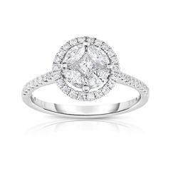 Womens 3/4 CT. T.W. White Diamond 14K Gold Cluster Ring