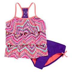 Breaking Waves Girls Solid Tankini Set Plus - Big Kid