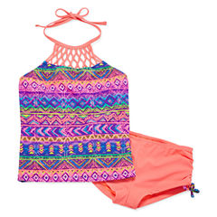 Breaking Waves Girls Pattern Tankini Set - Big Kid