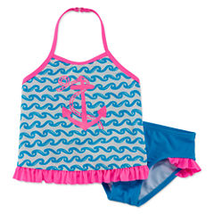 Breaking Waves Girls Solid Tankini Set - Toddler