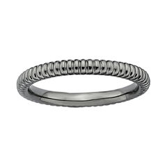 Personally Stackable Black-Plated Sterling Silver 2mm Ribbed Ring