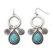 Aris by Treska Simulated Turquoise Small Hoop Dangle Earrings