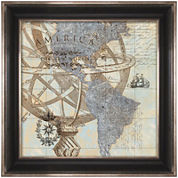 New World Map Framed Wall Art
