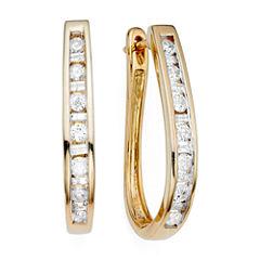 1/2 CT. T.W. Diamond 10K Yellow Gold Hoop Earrings