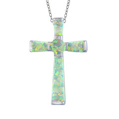 Silver Treasures™ Lab-Created Opal Sterling Silver Cross Pendant Necklace