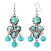 Aris by Treska Small Aqua Stone Chandelier Earrings