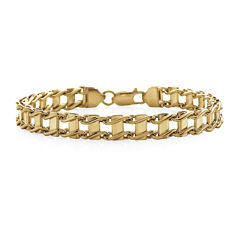 Made in Italy Mens 10K Yellow Gold Railroad Bracelet