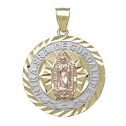 Tesoro™ 14K Tri-Color Gold Our Lady of Guadalupe Diamond-Cut Pendant