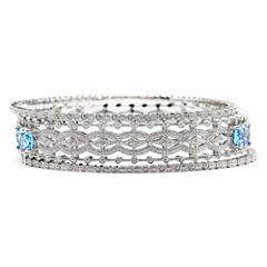 Blue Topaz & Diamond-Accent 3-pc. Bangle Bracelet Set